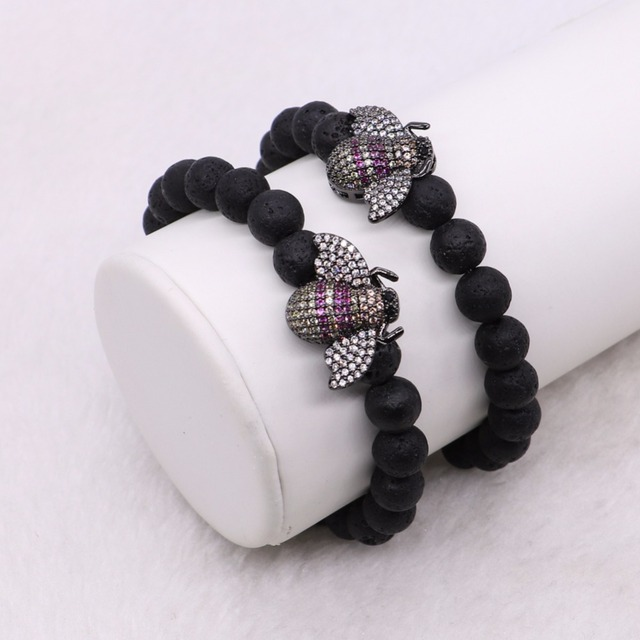 Wholesale Volcanic stone beaded stand with tiny bee charms bracelet bee jewelry fashion jewelry Gems Gift for lady 2889