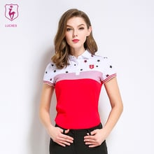 LUCXES summer golf shirt women polo t clothing slim fit high-elastic ventilated 2018 anti sweat 120175 free shipping