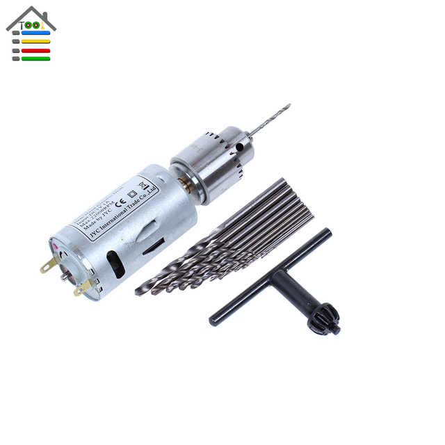 New DC 5-12V Electric Motor PCB Hand Drill Press Drilling Compact Set with 10PC 0.5-3.0mm Twist Bits 0.3-4mm JTO  Keyless Chuck