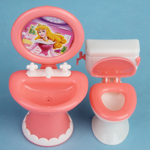 Kid's play house toys Doll Accessories Handmade Doll's Plastic toilet Basin&closestool set For Dolls/Kali dolls
