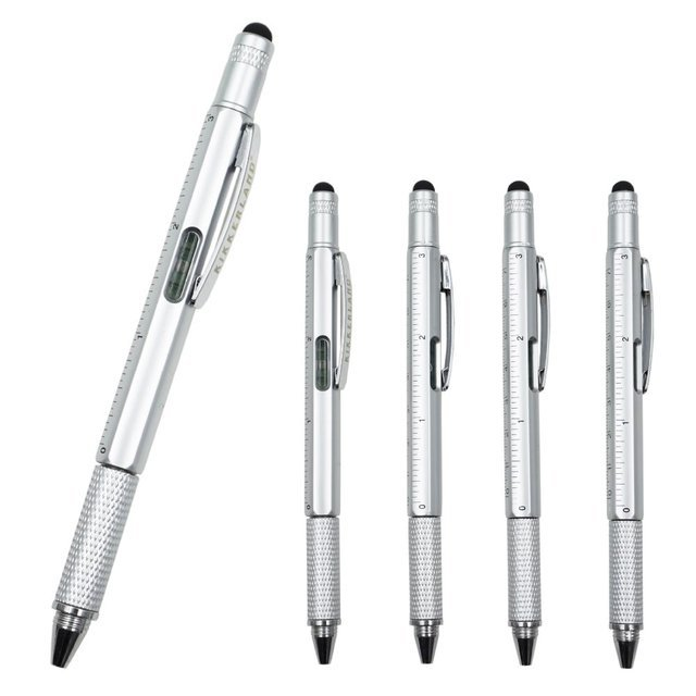 10PCS/LOT Multi Function Touch Screen Tool Stylus Pen with Spirit Level Ruler Screwdriver School Supplies