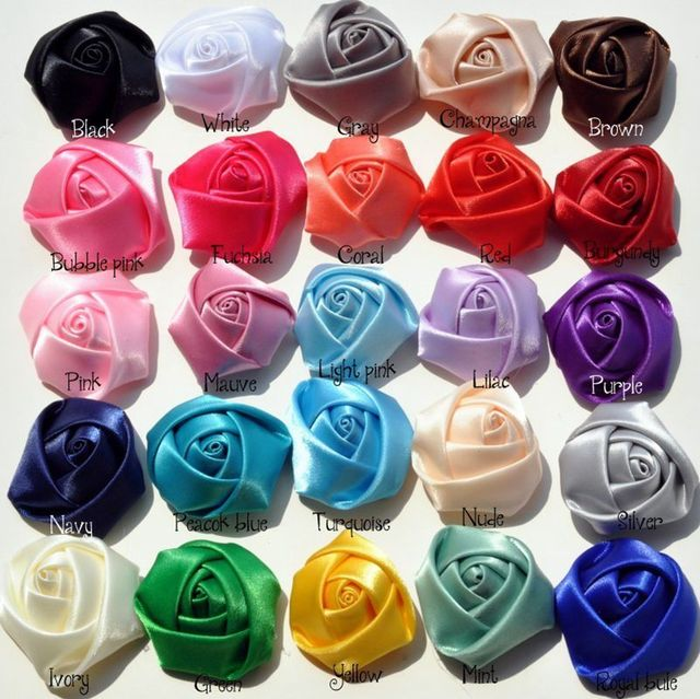 50pcs/lot 16 Colors Hair Clips Mini Satin Ribbon Rose Flower Accessories Handmade Rolled Rosettes For Hair Clip Or Headband DIY
