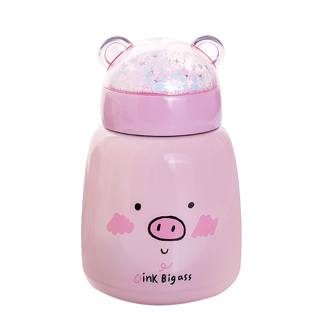 SOLEDI Drink Vacuum Cup Insulated Tumbler Pig Cute Coffee Double Wall Food Containers Thermos Cup Heat Preservation Soup Kids