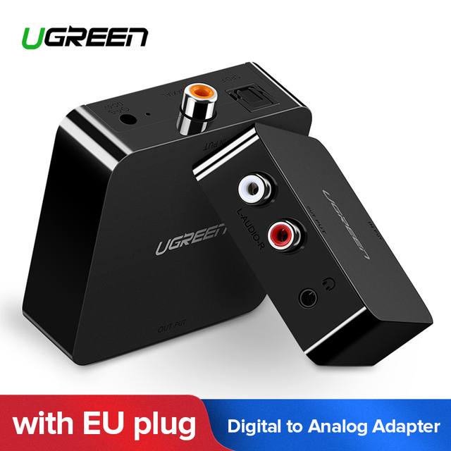 Ugreen Toslink Coaxial Optical SPDIF Digital to Analog Audio Adapter AUX 3.5mm Jack Analog R/L RCA Converter with EU Plug