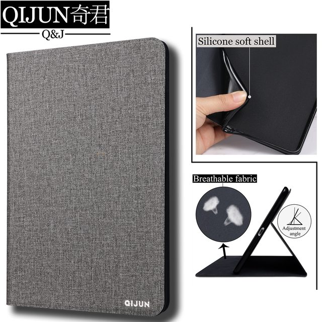"""QIJUN tablet flip case for Samsung Galaxy Tab A 8.0"""" 2015 protective Stand Cover Silicone soft shell fundas capa for T350/T355"""