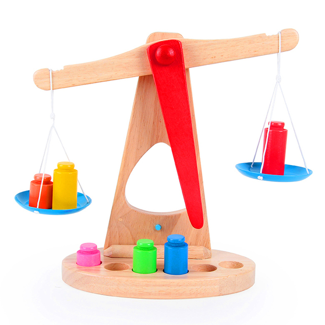 Candice guo! hot sale Montessori educational wooden toy scale funny toy balance game baby early development birthday gift 1pc