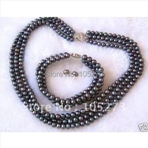 Stunning!3Row AA 7-8MM Black color Genuine Freshwater pearl necklace bracelet earring jewelry set Free shipping Wholesale FN21