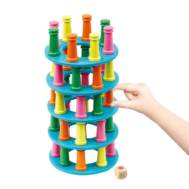 Children Wooden Toy Rainbow Tower Stacking Stack Up Learning Education Toy Color Building Blocks Dice Balance Desktop Game Gift
