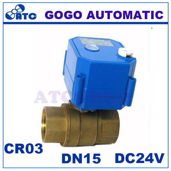CWX-25S DN15 1/2 bsp 2 way brass MINI motorized / electric ball water valve with manual override, ADC9-24V CR03 / CR04