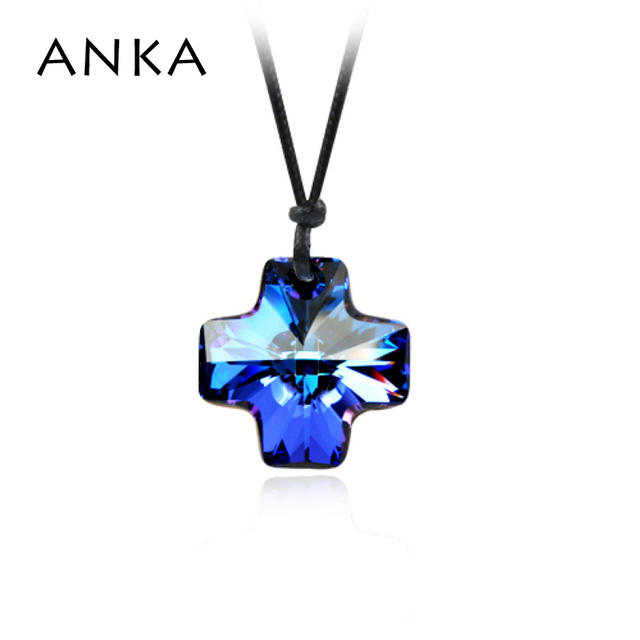 ANKA cross crystal pendant necklace with cotton rope chain 2*2CM no lobster clasp Crystals from Austria Crystals #73915