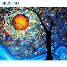 SDOYUNO Painting By Numbers Tree Nature Digital Painting 60X75cm DIY Framed paint by number kits On Canvas Home Decor Wall Art