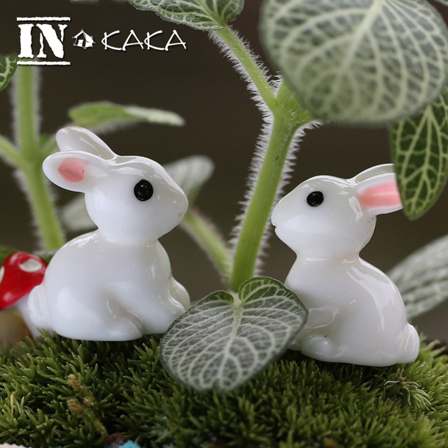2pcs Zakka home micro garden Decoration crafts mini Rabbit animal model Action Figure Toy dollhouse DIY accessories Photo props