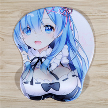 FFFAS Durable 3D Breast Sexy Mouse Pad Silicone Wrist Rest Cartoon Anime Cute Re:Zero Rem Mousepad for Notebook Computer