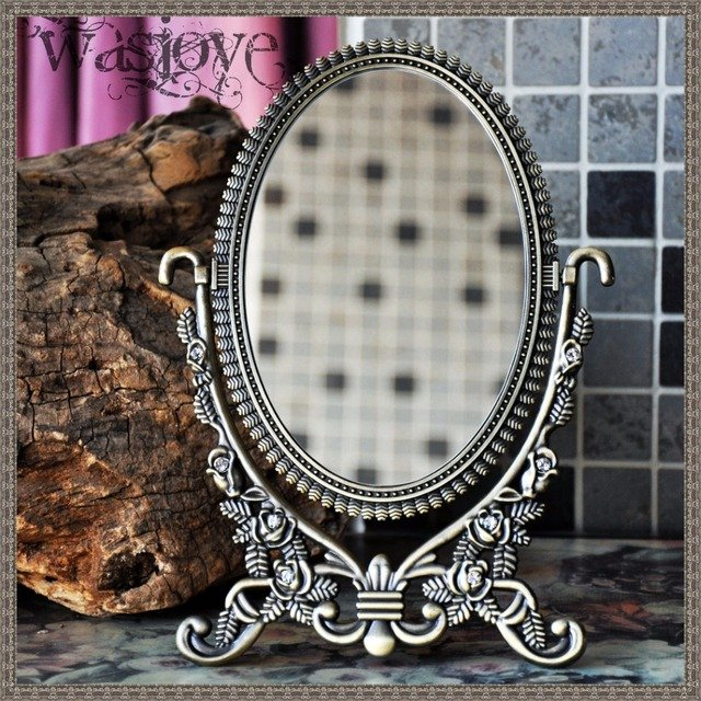 360 degree rotation European oval double side small table mirror desktop makeup mirror home decoration mirror HZJ002