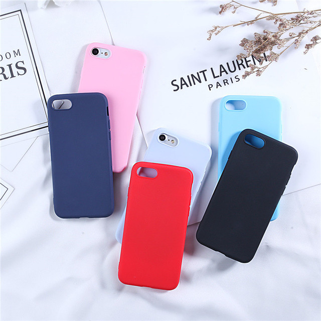 Cute Candy Color Silicone Case For iphone SE 2020 6 6S 7 8 Plus case For iphone 11 12 Pro X XR XS Max Soft Simple Fashion Case
