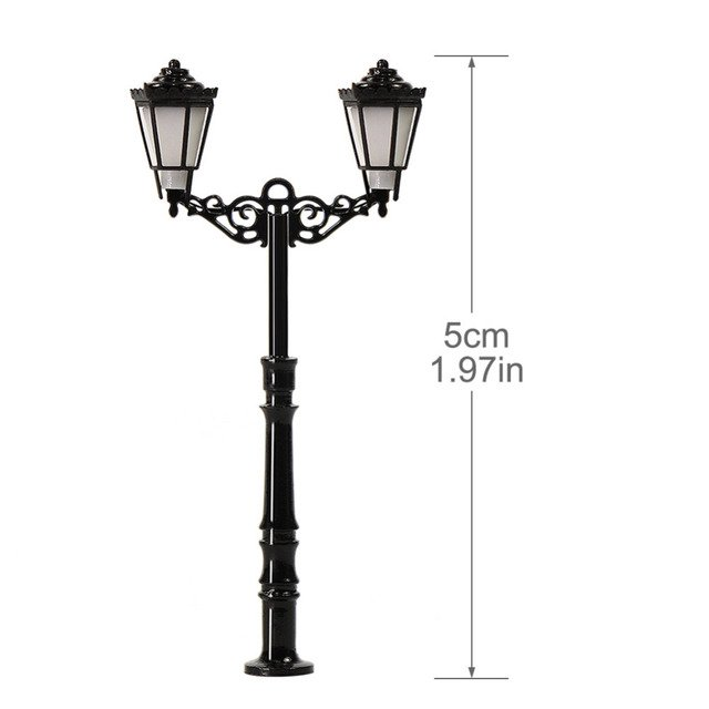 3pcs N Scale Lamp Post Double Heads 50mm 1:150 Street Lights Model Railway Train LEDs Miniature LQS77N
