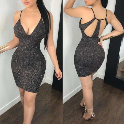 Sexy Clubwear Hot Backless Vestido sukienki Women 2019 Sexy Metallic Bodycon Shiny Evening Party Clubwear Pencil Club Mini Dress