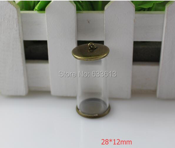 New 100sets/lot 28*12mm long tube glass globe & 12mm bronze color cover button set (no filler) glass wish bottle sweater pendant