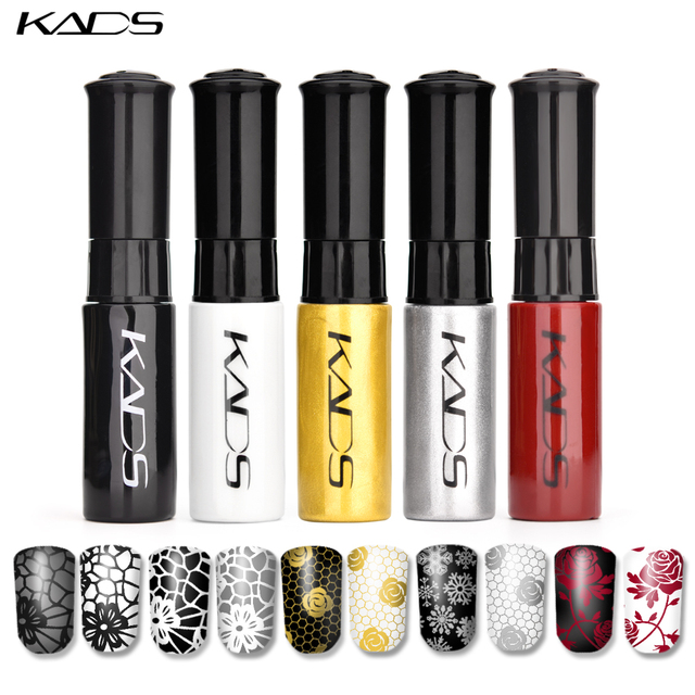 KADS Stamping nail polish Lacquer 5 Bottle/LOT 5 Color Nail Art nail polish set Nail Stamping Polish for stamping template