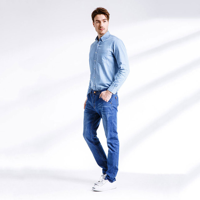 2017 Mens Jeans New Fashion Men Casual Jeans Slim Straight High Elasticity Feet Jeans Loose Waist Long Trousers