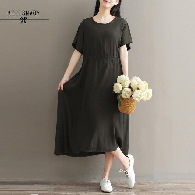 Casual Solid Pleated Short Sleeves Dress Cotton Linen Loose Pure O-neck Long Dress Large Size XXL Vintage Woman Long Dress Black