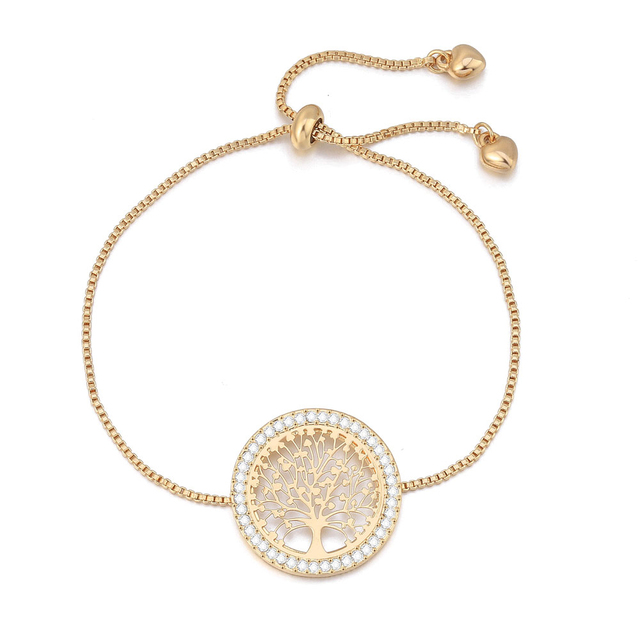 Tree Of Life Crystal Bracelets Rose Gold  Adjustable Charm Bracelets Jewelry For Women Gifts Bijoux Collier Dropshipping