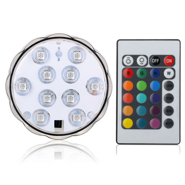 Kitosun 1pc 10LEDs Waterproof Submersible Wedding Decor Lights Remote Controlled Battery Operated Base for Wedding Party