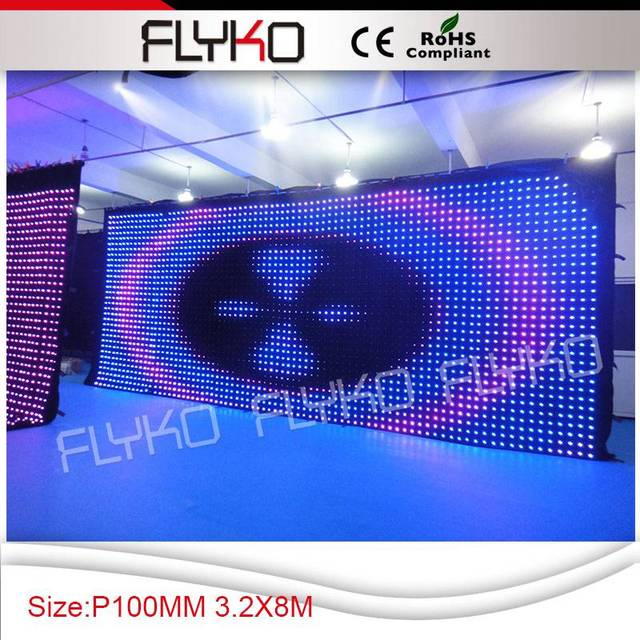 Flykostage 3.2m high 8m wide P10CM display picture curtain high brightness led video screen