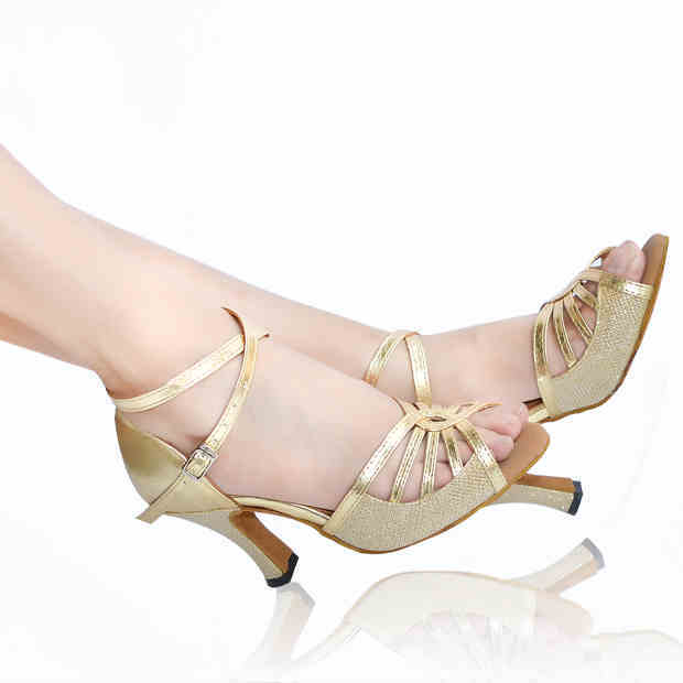 2020 Brand Gold Silver PU Upper Women's Latin Dance Shoes Party Salsa Square Shoes Latin Dancing Shoes