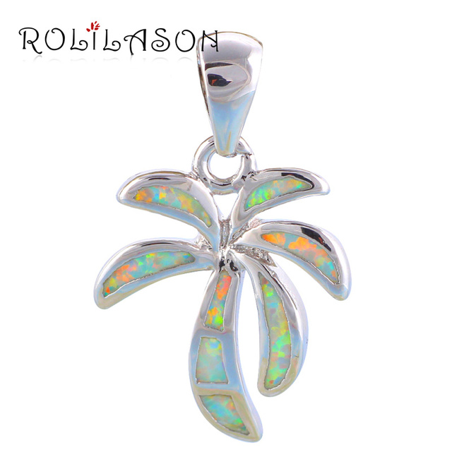 Fantastic coconut tree Style White fire Opal Fashion jewelry Silver Stamped Necklace Pendants Party Gifts for Friend OP553