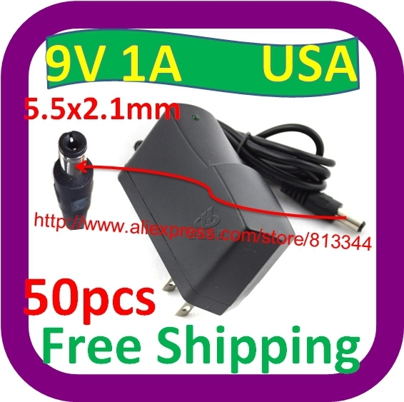 50 pcs Free Shipping 100V-240V AC to DC charger USA Plug 9V 1A switch Power Supply Adapter USA 5.5MM*2.5MM