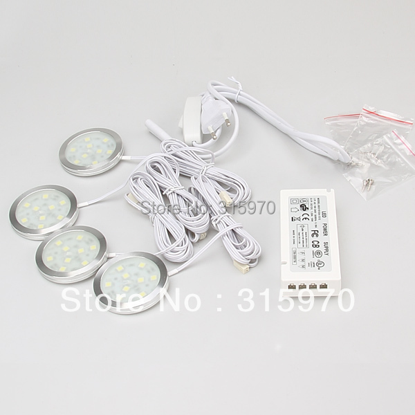 LED Round Slim Puck Light Cabinet  SMD5050 9leds 12VDC 1.8W Aluminum Dimmable 15W Power Driver with 6Port Junction Box 1pcs/lot