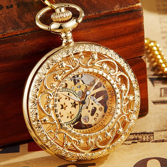 Ancient Antique Steampunk Mechanical Pocket Watch Necklace Hand Wind Carved Hollow Skeleton Fob Clock Pendant Chain Men Women