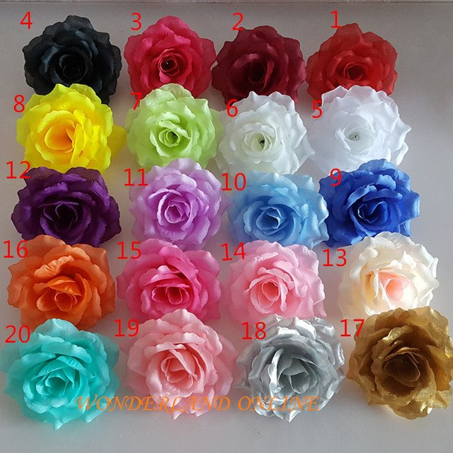 300PCS 21Colors 10CM Artificial Silk Rose Flower Heads for DIY Wedding Wall Arch Background Props  Kissing Ball Accessory Decor