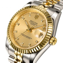 HOLUNS diamond role luxury gold automatic men mechanical hand wind self-wind watch men full steel watch casual watches Promotion