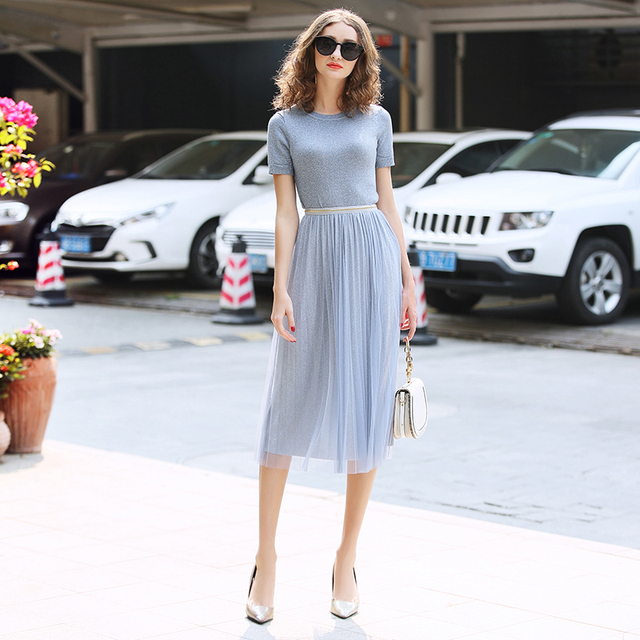 Two Piece Sets Promotion 2019 Spring Summer Women's New Lurex Short Sleeve Sweater Screen Mesh Pleated Skirt Fashion Set