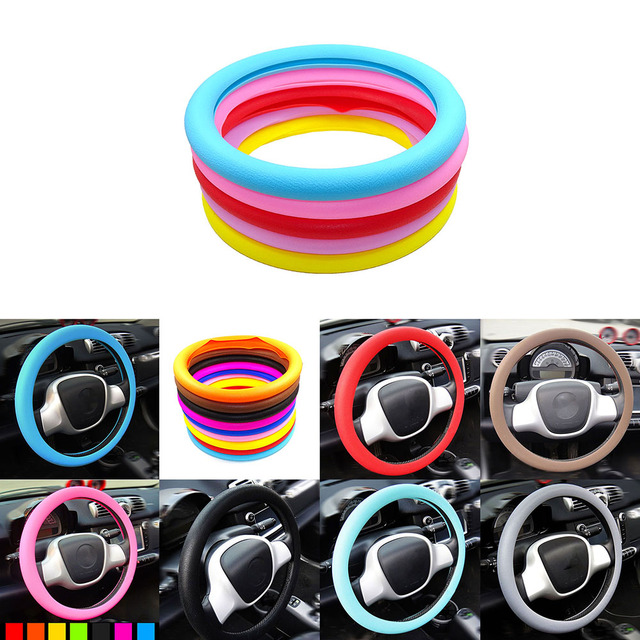 Car Auto Silicone Steering Wheel Glove Cover Soft Auto Steering Covers Accessories Universal 36-40cm