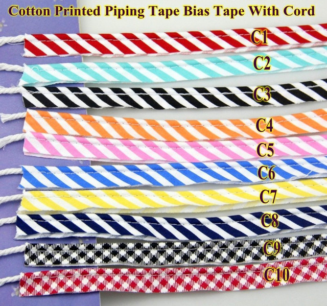 "Grid Stripe Cotton Bias Cord Tape Flange Piping Trim  Binding Covered Insertion Tap Sewing Textile Tape 12mm,1/2"" 20 Meter"
