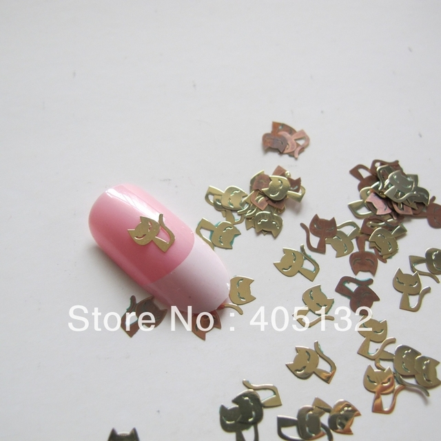 Approx. 1000pcs/bag Metal Gold Cute Cat Slices Non-adhesive Metal Pieces Nail Art Decoration MS-194-2