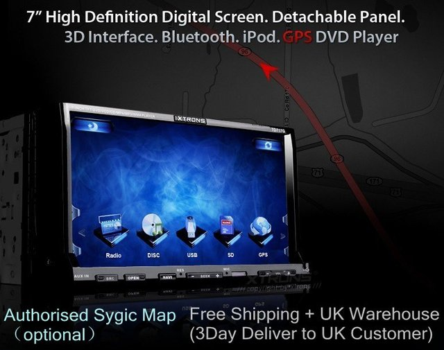 "Free Shipping Xtrons 7"" High Definition Digital T-Screen GPS Car DVD Player TD717G"