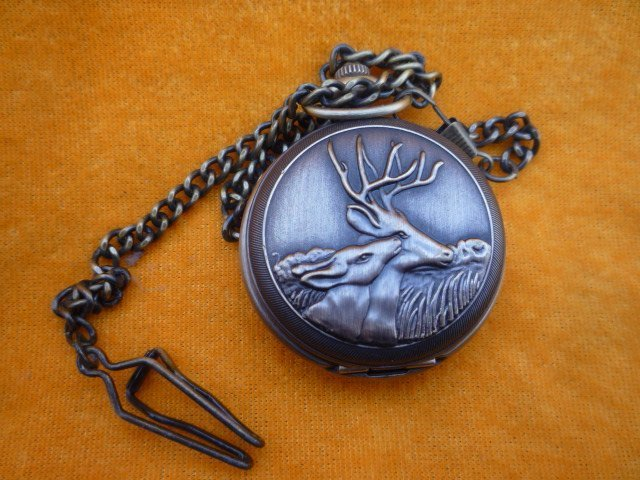 collection beautiful Mechanical Pocket watch /clock,can work,  carving deer,with mark, 18 century ,free shipping