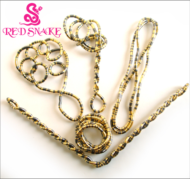 RED SNAKE 5pcs/lot Bendy Fashion Flexible Gold+Black Mixedcolor Snake Necklace 90cm*5mm Larger Manufactory Price
