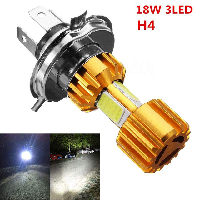 Motorcycle Headlight Bulb  LED 3 COB 2000LM 6000K Hi/Lo Beam Light White H4 Light  Motorbike Head Lamp Hi-Lo lights Moto DRL