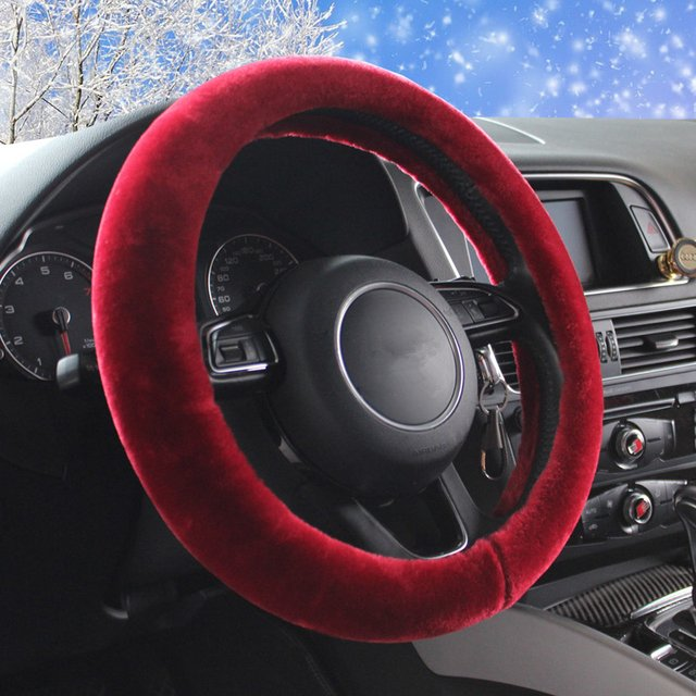 plush fur universal car steering wheel covers warm wool in winter auto heated steering wheel case for cars styling accessories