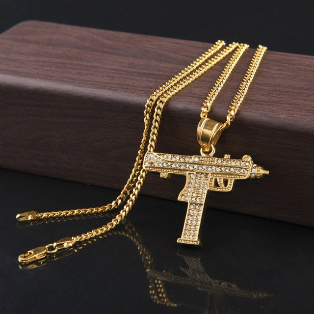 10PCS/Lot Fashion Golden Uzi Gun Pendant Necklace Men Alloy Full Rhinestone Bling Submachine Gun link chain Pop Wholesale