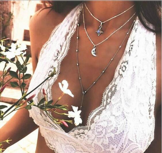 Tenande Vintage Bohemian Natural Stone Beads Moon Necklaces Pendants for Women Punk Silver Color Clavicle Chain Jewelry Bijoux