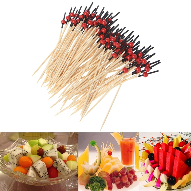 New 100pcs Beads Bamboo Cocktail Picks Food Sticks Disposable Toothpicks Party Club Accessories