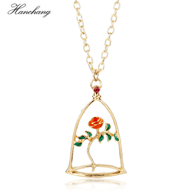 HANCHANG Hot Movie Beauty and The Beast Theme Wishing Rose Flower Gold Color Pendant Link Chain Necklace for Lady's Accessories