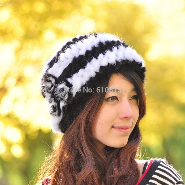 Hot Sale High Quality Female Knitted Mink Hair Wool Hat Winter Thermal Fur Hat Thickening