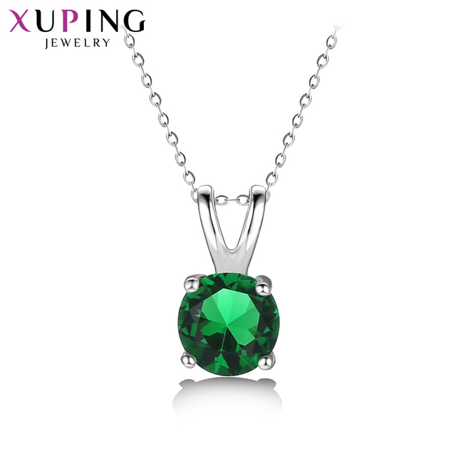 Xuping Simple Colorful Charm Design Jewelry Rhodium Color Plated Pendant for Women Valentine's Day Gifts 32974